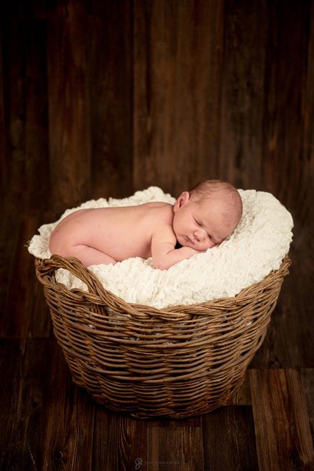 reportaje fotografico de bebe recien nacido dentro de un cesto