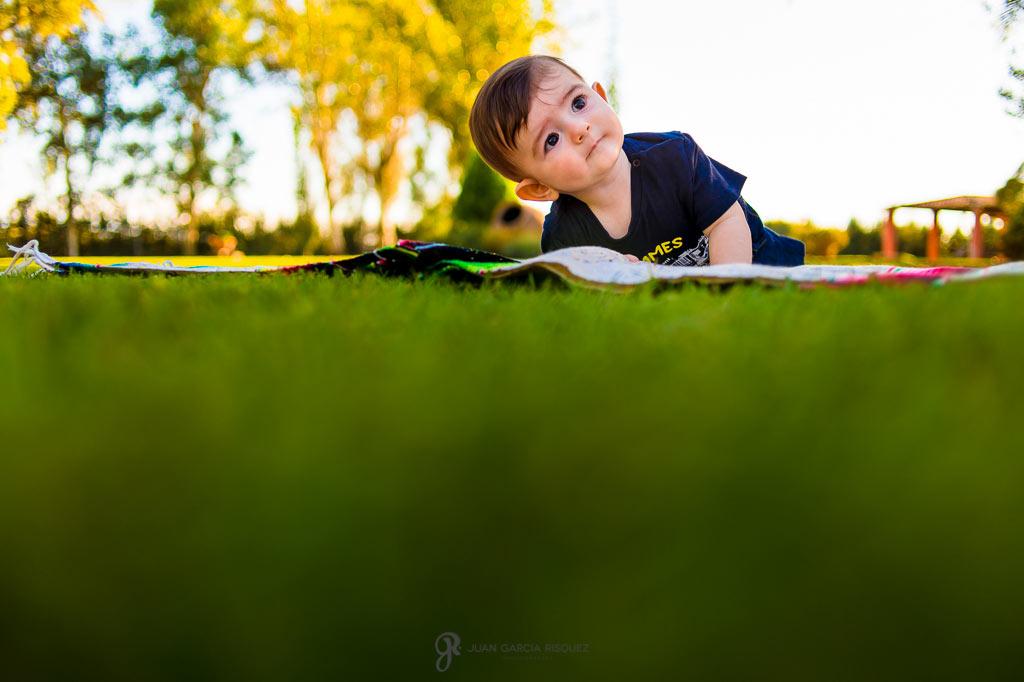 Fotos de un bebé gateando en el campo