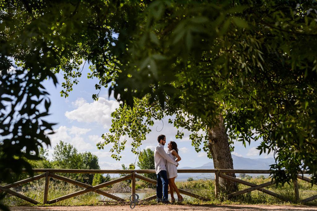 Reportaje de preboda de unos novios bajo la sombra de un árbol